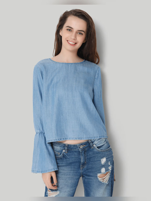 Light Blue Bell Sleeve Denim Top
