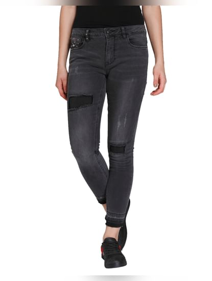 Dark Grey Distressed Mid Rise Skinny Fit Jeans