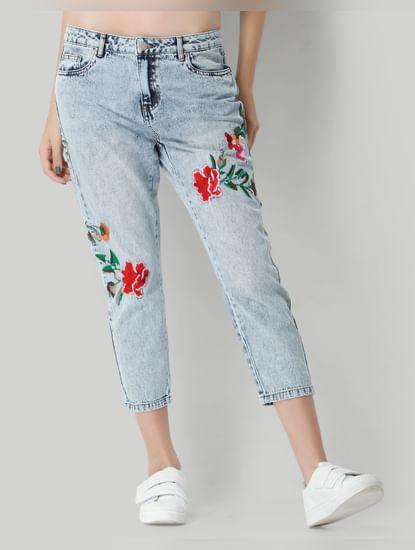 Light Blue Floral Mid Rise Boyfriend Jeans