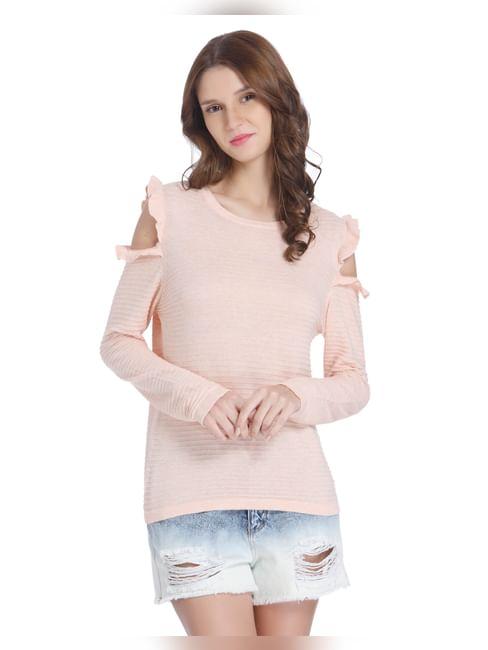 Peach Cold Shoulder Knit Top