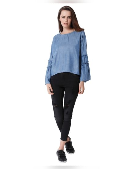 Blue Chambray Flared Sleeves Top