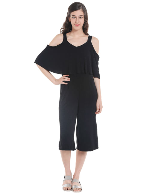Black Cold Shoulder Culottes Jumpsuit