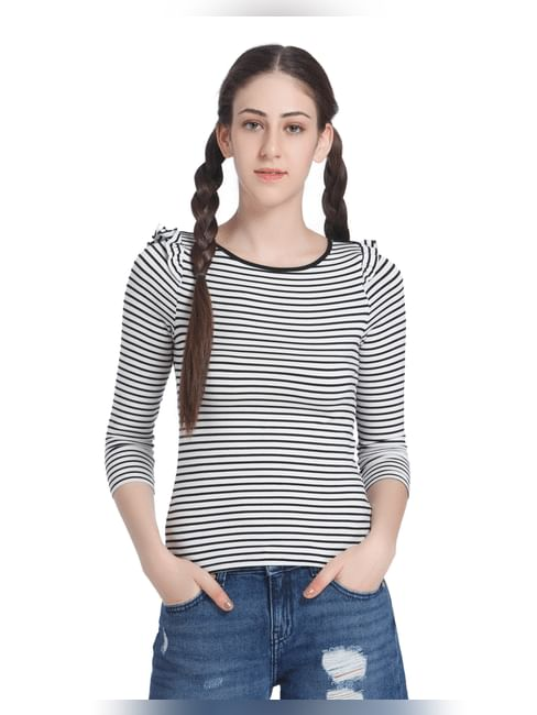 Black And White Frill Sleeved Striped Top