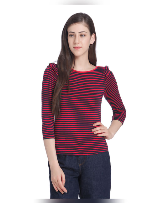 Blue And Red Frill Sleeves Striped Top