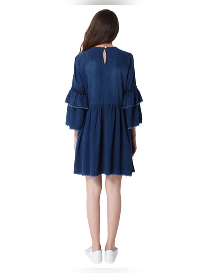 Dark Blue Denim Tiered Sleeves Shift Dress
