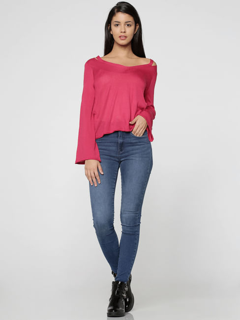 Pink V-Neck Flared Sleeves Pullover
