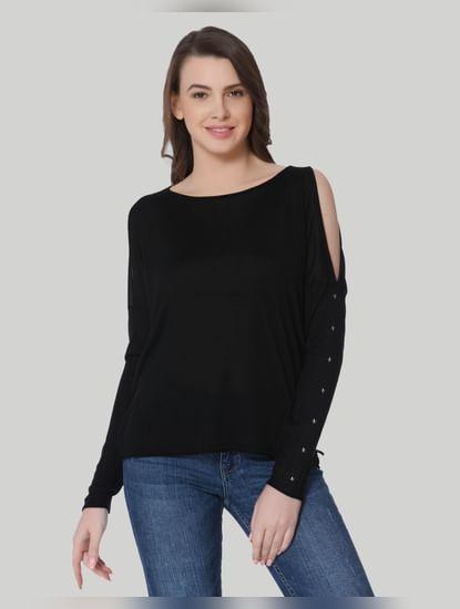 Black Studded Cold Shoulder Pullover