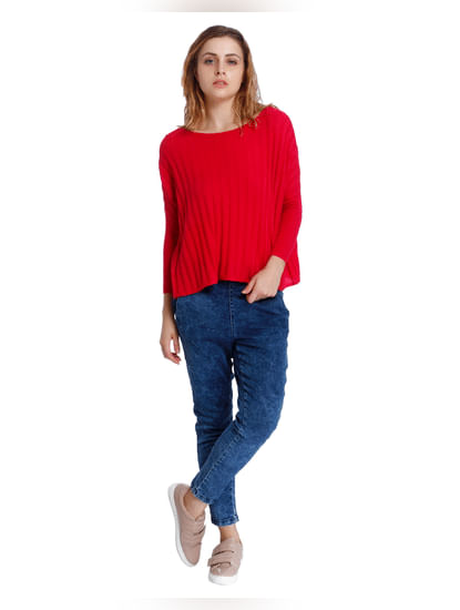 Red Pleated Oversized Pullover
