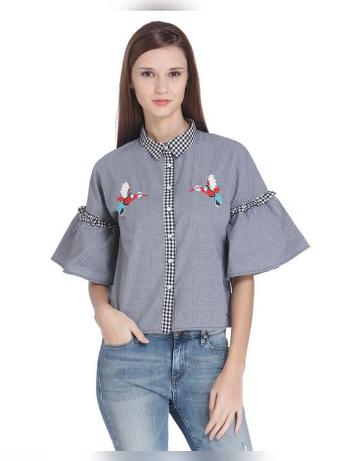 Bird Embroidered Check Crop Shirt