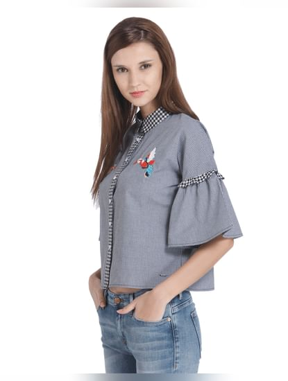 Bird Embroidered Check Crop Shirt
