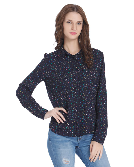 Blue All Over Star Print Shirt