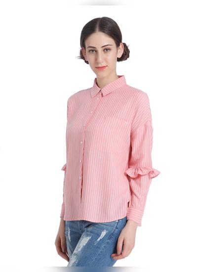Pink Ruffle Sleeves Shirt