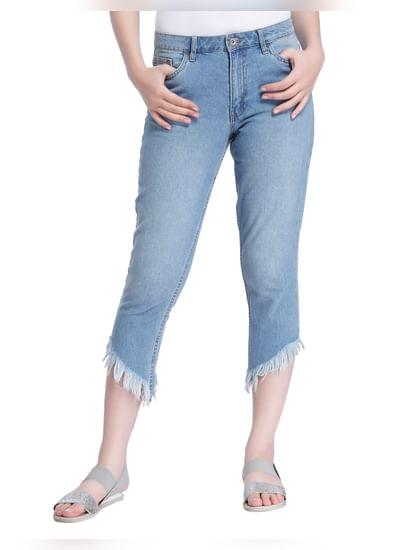 Light Blue Frayed Hem Cropped Straight Fit Jeans