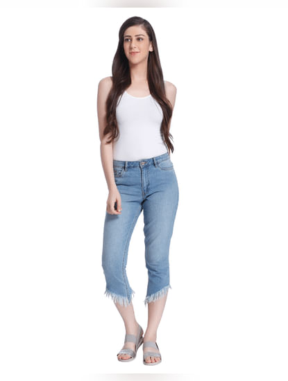 Light Blue Frayed Hem Cropped Straight Fit Jeans