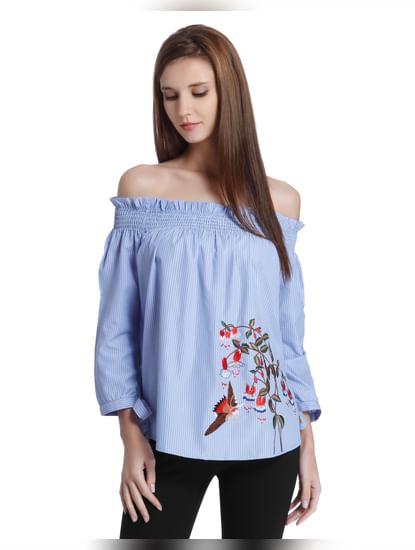 Blue Embroidered Off Shoulder Top