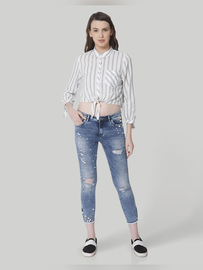 Blue Pearl Studded Mid Rise Skinny Fit Distressed Jeans