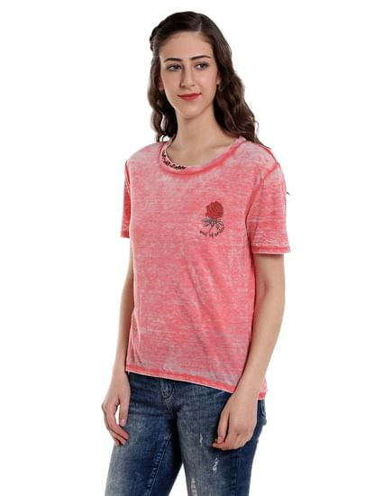 Pink Rose Print T-Shirt