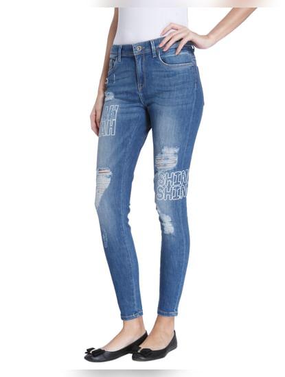 Blue Graphic Print Skinny Jeans