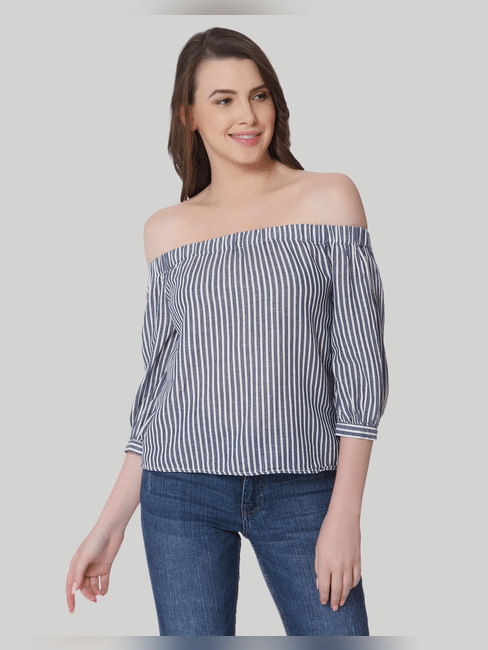 White Striped Off Shoulder Denim Top