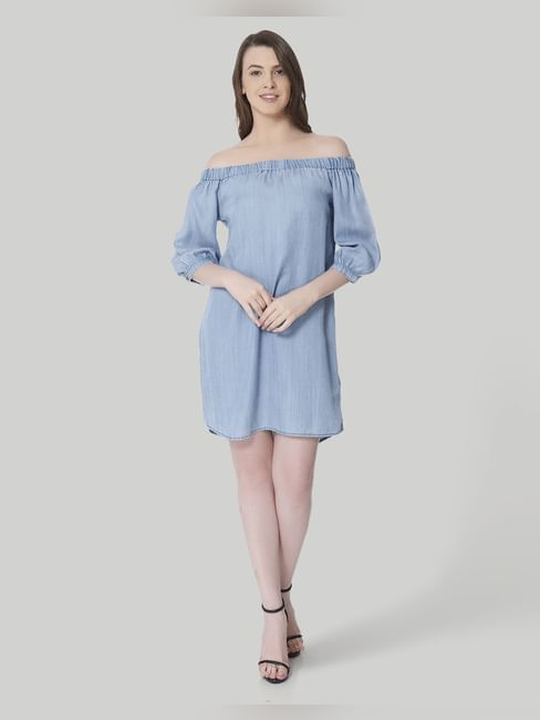 Light Blue Off Shoulder Denim Shift Dress