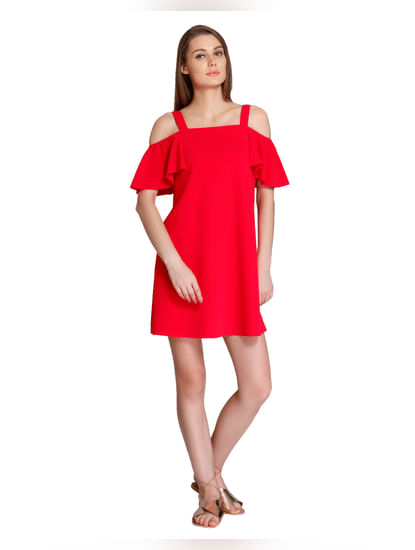 Red Cold Shoulder Mini Dress