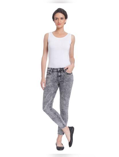 Grey Stonewashed Slim Jeans