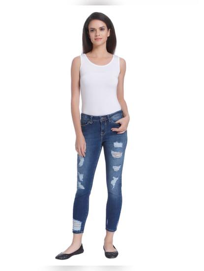 Dark Blue Distressed Slim Jeans
