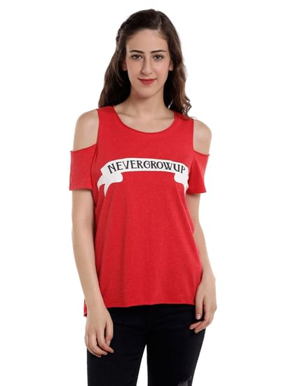 Red Slogan Print Cold Shoulder Top