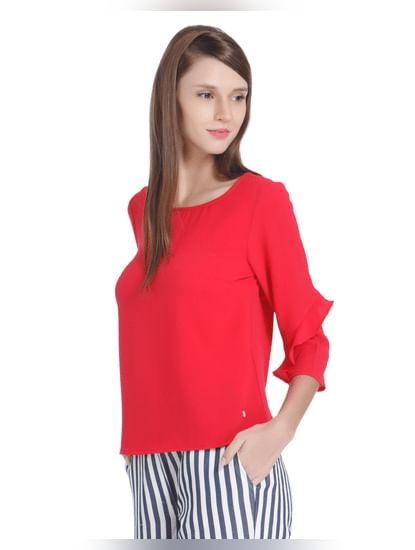 Red Frill Sleeves Top