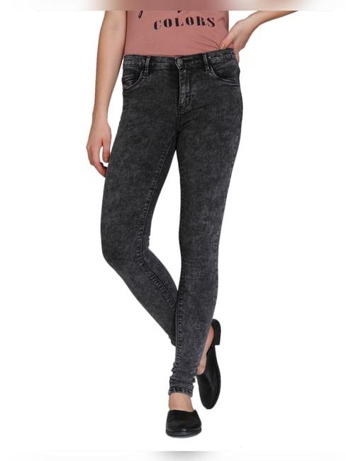 Grey Eyelet Detail Medium Rise Skinny Fit Jeans