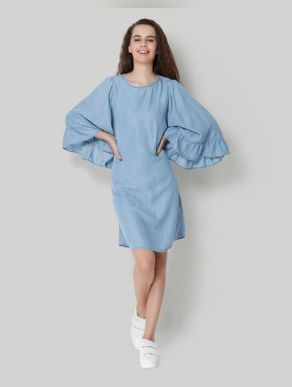 Blue Flared Sleeve Denim Shift Dress