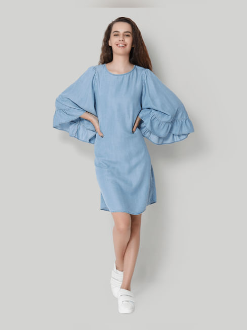 Blue Flared Sleeve Denim Shift Dress