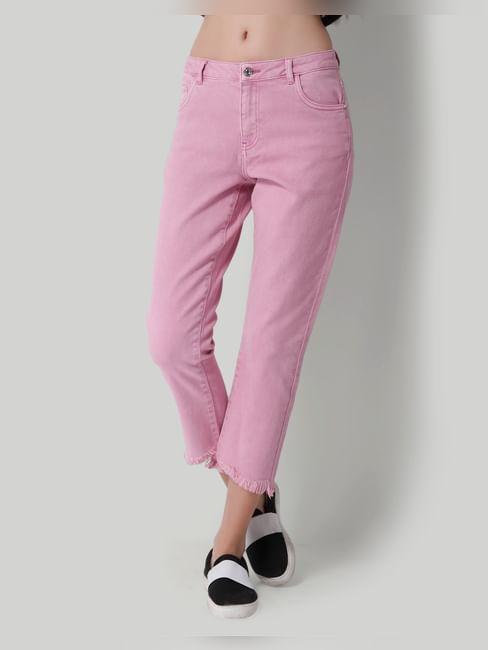 Pink Mid Rise Frayed Hem Comfort Fit Jeans