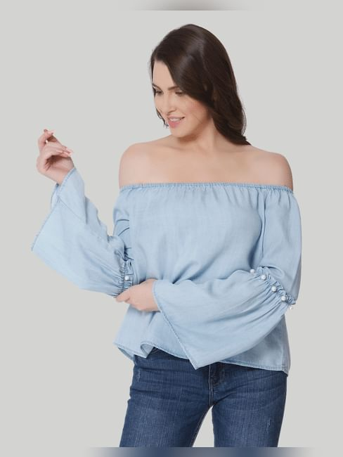 Light Blue Off Shoulder Pearl Embellished Denim Top