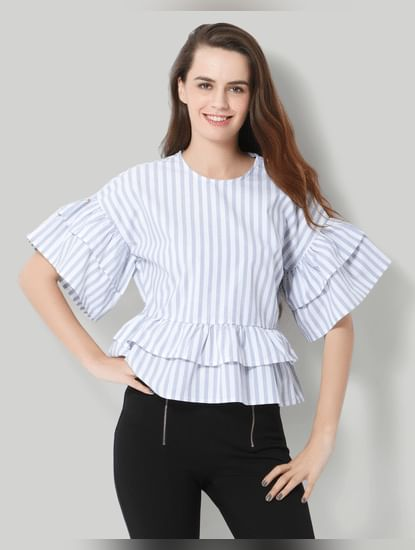 Light Blue Striped Frill Detail Top