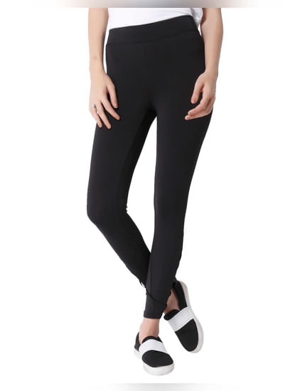 Black Mesh Detail Skinny Fit Leggings