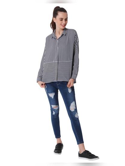Black Striped Oversized Shirt