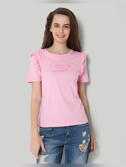 Pink Frill Sleeve Print Top