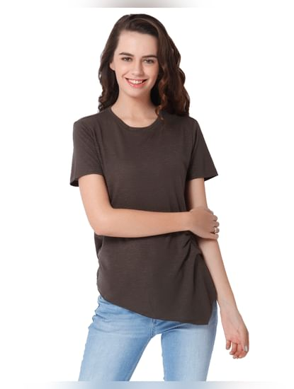 Brown Shimmery Side Cinched Top