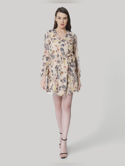 Beige Floral Print Wrap Mini Dress