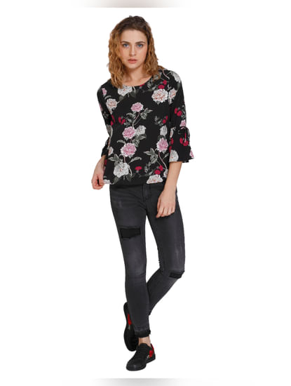 Black Floral Print Flared Sleeves Top
