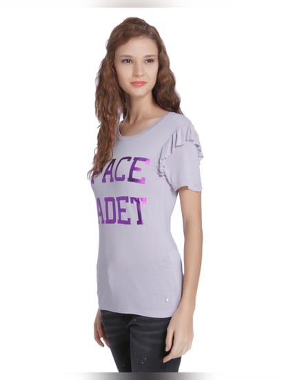 Purple Slogan Print Frill Sleeves T-Shirt