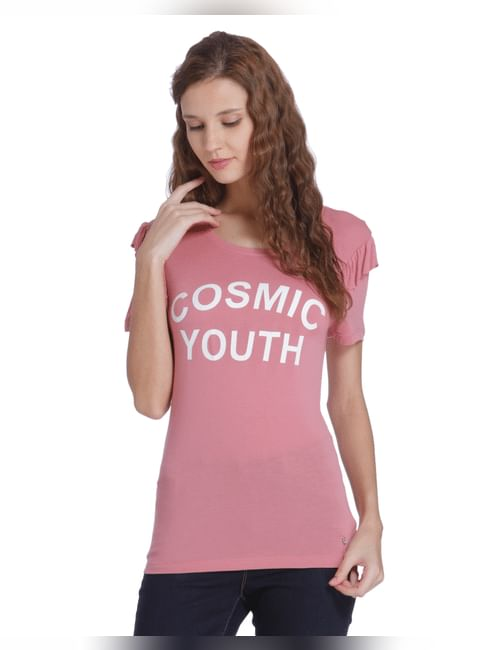 Pink Slogan Print Frill Sleeves T-Shirt