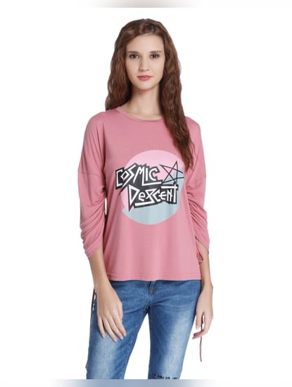 Pink Graphic Print Top