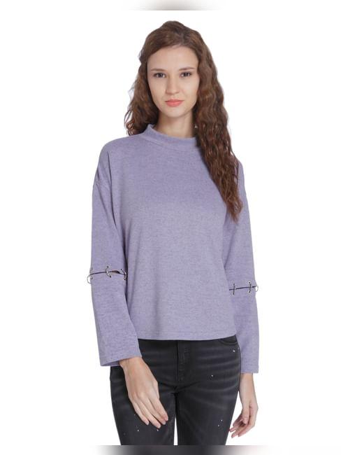 Purple Hook Sleeves Sweatshirt
