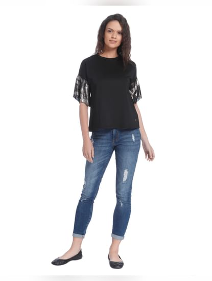 Black Metallic Bell Sleeves T-Shirt