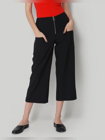 Black Zipper Cropped Comfort Fit Pants
