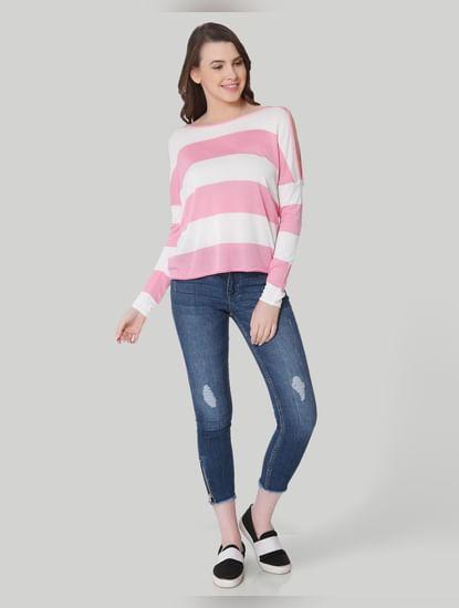 Pink Striped Cold Shoulder Pullover