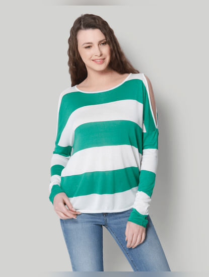 White Striped Cold Shoulder Pullover