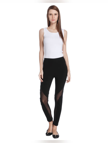 Black Sheer Panel Leggings